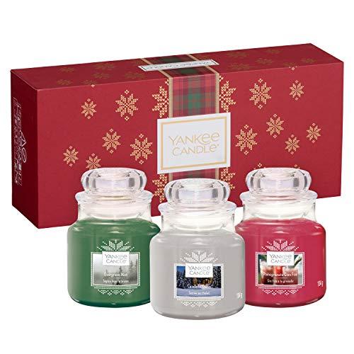 Yankee Candle Set de Regalo con 3 Velas Aromáticas en Tarro Pequeño, Colección Alpine Christmas, Estuche de Regalo Navideño