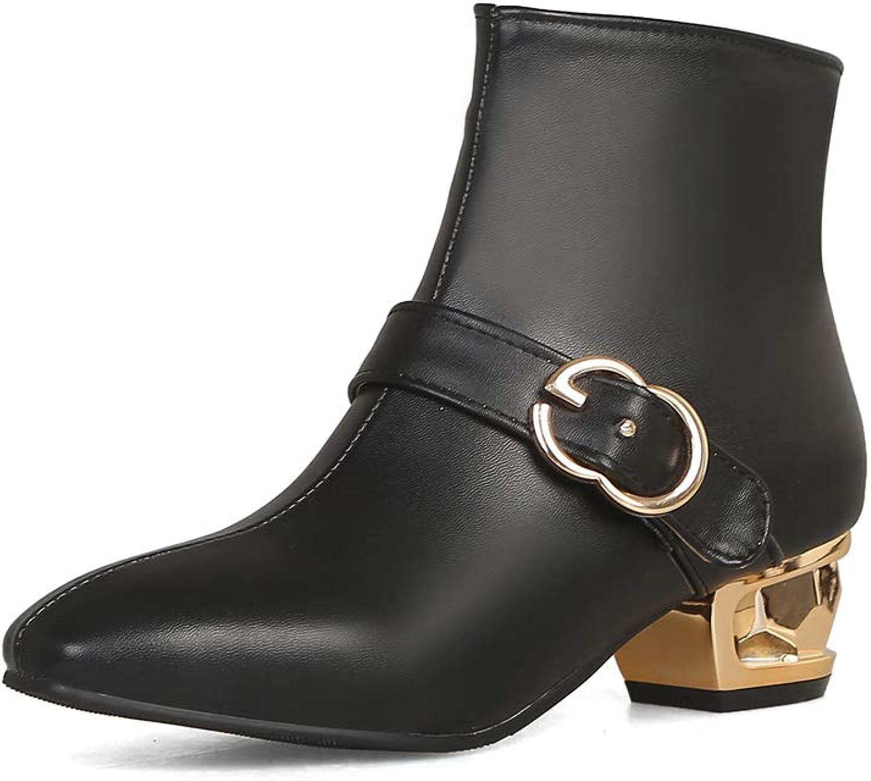Women's Closed Toe Ankle Boots Side Zipper Short Booties Chunky Unique Heel Dress shoes Buckle Pumps