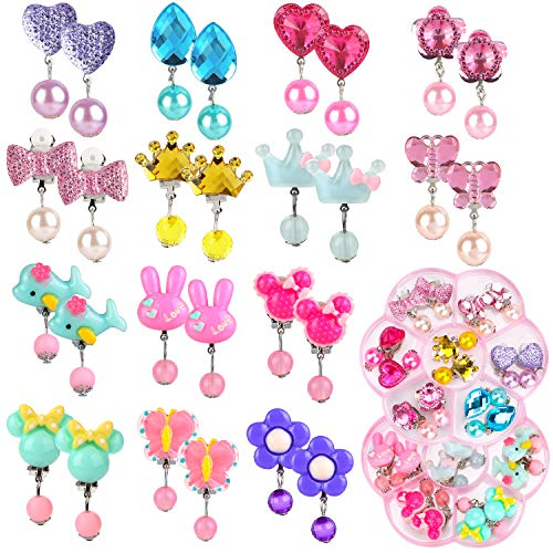 Hifot 14 Paare Clip Mädchen Ohrringe Prinzessin Klipp Ohrring Set Dress up Prinzessin Schmuck Zubehör für Mädchen Kinder Kleinkind in 2 klaren Boxen