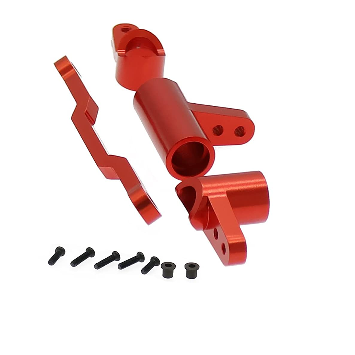 RCAWD Servo Saver Complete Set Aluminum Alloy for Rc Hobby Model Car 1:16 HQ731 HQ732 HQ733 HQ734 Buggy Big Foot Truck Rally Car 1set(Red)