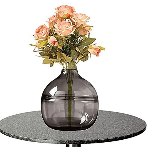 LXLAMP Jarrones, jarrón Cristal Jarron Grande de Suelo Flores Artificiales Decoracion jarrones Jarrones de Flores, Elegante Decoración para la Decoración del Escritorio - Altura 20 cm (Color : Gray)