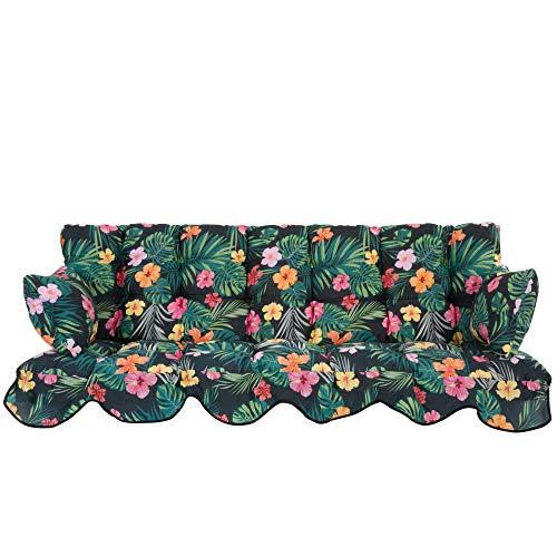 PATIO Auflagen Set Minorca für Hollywoodschaukel Polsterauflage Sitzkissen Rückenkissen Seitenkissen Gesteppt G029-07PB 184 cm (Polyester-Baumwolle, Pflanzenmuster)