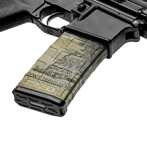 GunSkins AR-15 Mag Skin - Premium Vinyl Mag Wrap with Precut Pieces - Easy to Install and Fits 30rd Magazines - 100% Waterproof Non-Reflective Matte Finish - Made in USA - GS Don't Tread On Me