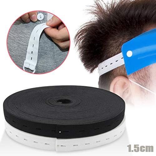 Longra 40 Yard Gummiband Verstellbares Elastische Knopfloch Nähband Lochgummi für Nähen/Haushalt/DIY/Handwerk