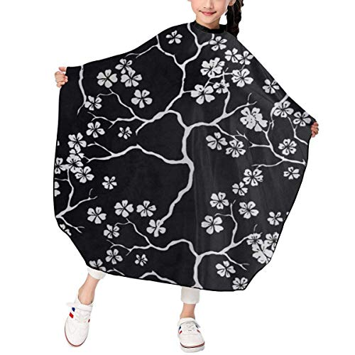 Capes de coupe enfant Hair Cutting Apron Janpan Japanese Cherry Blossoms Black And White Unique Hairdressing Salon Cutting Cape Polyester Water Resistant