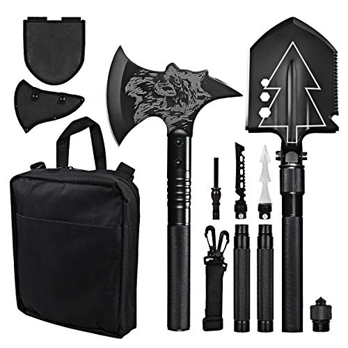 COOFOK Camping Shovel with Axe Survival Shovel Multitool with Hatchet Set Folding Shovel Portable Survival Gear and Equipment for Outdoor, Hiking, Backpacking, Emergency
