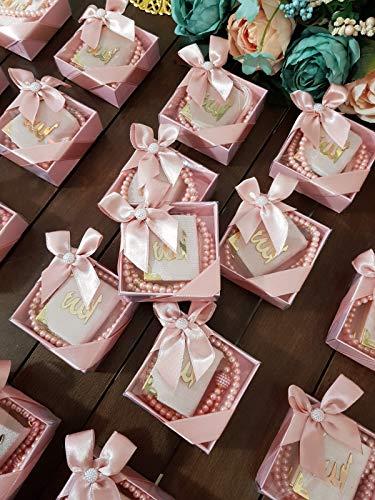 Mevlid Hatırası Mini Kuran & Inci Tesbih 99'lu süslü Kare Kutu Içinde (10 Adet) / Mini Koran & Gebetskette mit 99 Perlen in schöner Geschenkverpackung (10 Stück) (Puder)