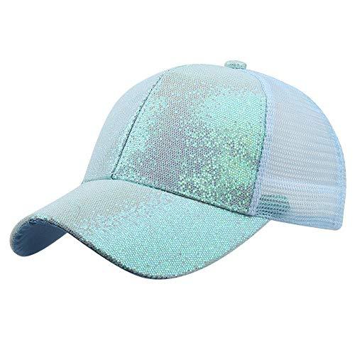 MMOOVV Mädchen Pferdeschwanz Baseball Cap Pailletten glänzend chaotisch Hut Sonnenhut (Blau L)