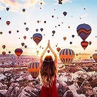 ナンバーキットによる5Dフルドリルダイヤモンドペインティング、子供、大人、お祭りの挨拶ギフト用のラインストーン刺繡クロスステッチキット-空の熱気球-45x60cm