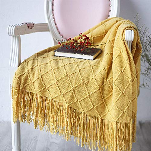 FJZF Cute Blanket Microfiber Knitted Soft Blanket Sofa Cover Home Decoration 127×170Cm-Yellow