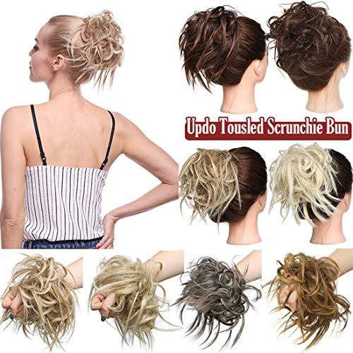 Extensión natural del cabello Updo despeinado Messy Bun Banda de goma ondulada Elástico Scrunchie Chignon Cola de caballo instantánea para mujeres Lejía rubia