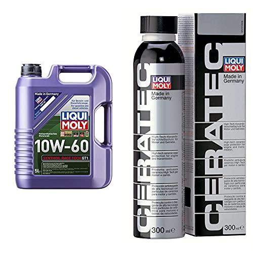 Liqui Moly 8909 Aceite De Motor, Synthoil Race Tech, Gt1, 10W-60, Booklet, 5 L + 3721 Cera Tec Aceite De Motor, Naranja, 300 Ml