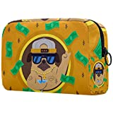 Bolsa de maquillaje personalizada para brochas de maquillaje portátil para mujer, bolso de mano, organizador de viaje, divertido perro con estilo gángster