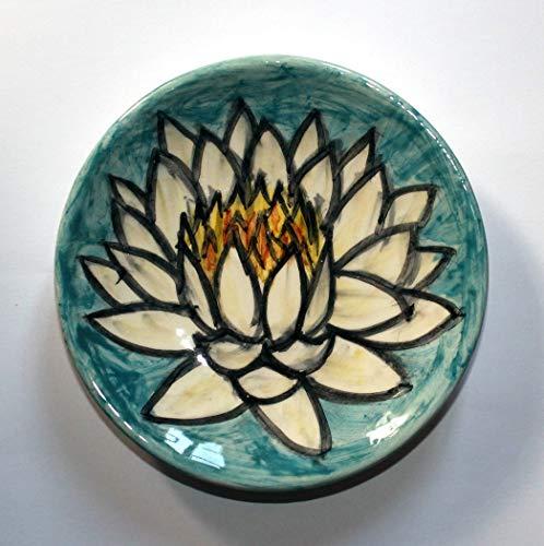Ninfèa, Blume-Handgemachte Keramikplatte, Durchmesser 12 cm hoch cm 2-Made in Italien, Toskana, Lucca