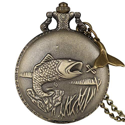 LEYUANA Reloj de Bolsillo de Cuarzo de Pescado Tallado Delicado, Collar de Pesca Punk Fishmen Colgante, Reloj de Cadena Fob para Hombres con Accesorio de Cola de pez 2