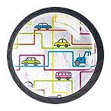 Tiradores de cajón TIZORAX coloridos para autobús y coches en línea redondos de cocina, 4 paquetes para armarios o puertas, decoración del hogar