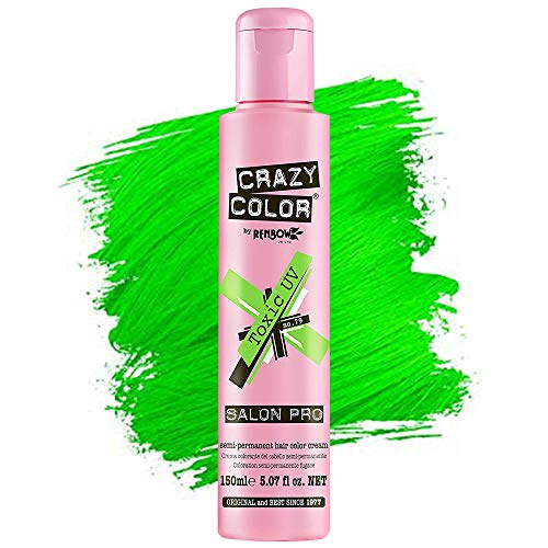 Crazy Color Hair Dye - Vegan and Cruelty-Free Semi Permanent Hair Color - Temporary Dye for Pre-lightened or Blonde Hair - No Peroxide or Developer Required - [TOXIC UV] - 150ML 5.07 oz