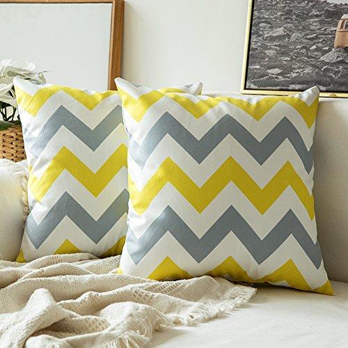 MIULEE Fundas de cojín para sofá Gamuza Sintética Almohada Caso de Diseño Geométrico Decorativas Fundas Cojines Amarillo limón&Gris 45x45 cm/18X18 2 Piezas