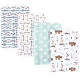 Hudson Baby Unisex Baby Cotton Flannel Burp Cloths, Teepee, One Size