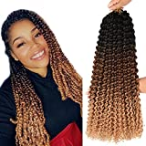 Ombre Passion Twist Hair Synthetic Water Wave Braids Bohemian Curly Hair For Bomb Twists Goddess Locs Crochet Hair Synthetic Braiding Hair Extensions For Woman Girls 6 Packs Sale (18INCH Black-dark brown-light brown)