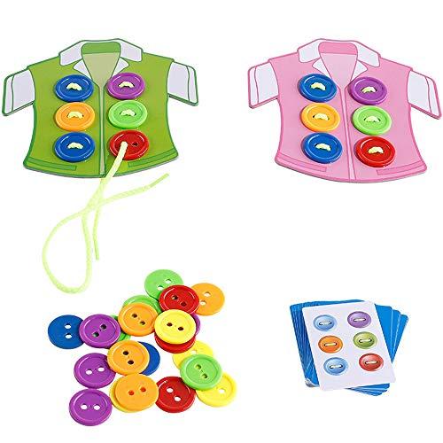 Yifuty Kleidung Button Threading Toy Board Spiel 3-6 Jahre alt 4 Jungen und Mädchen Baby Hand-On-Fähigkeitskonzentration Farbwahrnehmung 22.5 * 21 * 5,5 cm