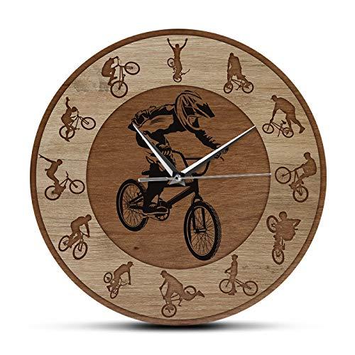 xinxin Wanduhr Freestyle BMX Acryl Bedruckte Wanduhr Extremsport Boy Zimmer Fahrrad Home Decor Radfahrer Kunst Stille Wanduhr Fahrradfahrer Geschenk für Wohnzimmer und Schlafzimmer usw.