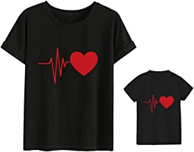 Heartbeat Love Funny Mom Son Daughter Matching T-Shirts Mother & Daughter Matching Set Mom & Baby Shirts