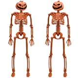 14'' Posable Halloween Skeleton - Pumpkin Head Full Body Halloween Skeleton with Movable Joints for Haunted House Props Decorations, Pack of 2