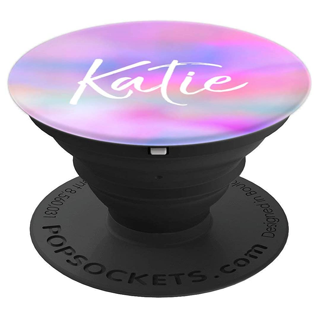 Katie Name Personalized Girl Universe Cute Gift Pink Blue - PopSockets Grip and Stand for Phones and Tablets