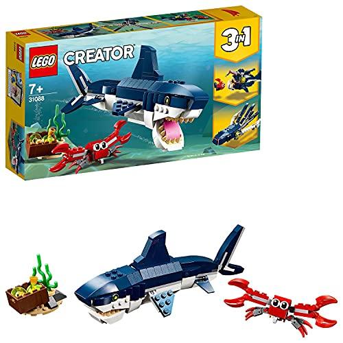 LEGO31088Creator3en1CriaturasdelFondoMarino,TiburónoCalamaroPezPescador,JuguetedeConstrucciónparaNiños+7años