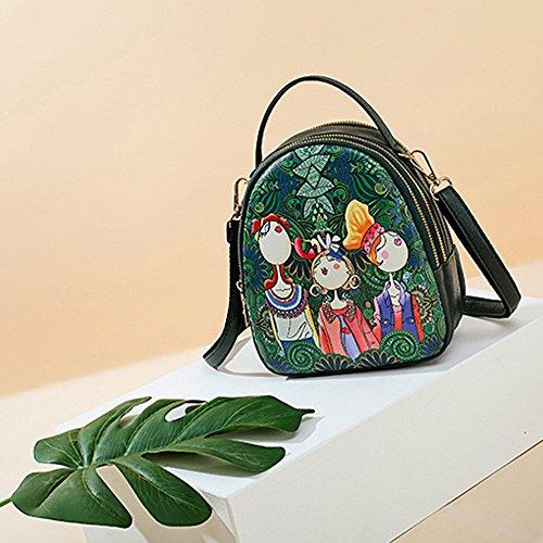 Alikeey Dames-bosmeisjesmotief, print met drie roosters, ritssluiting, schooltas-handtas