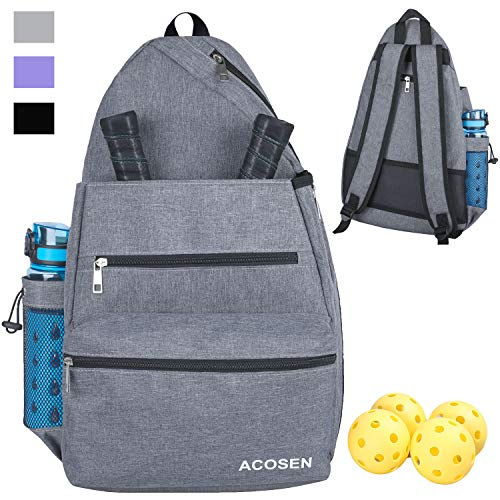 ACOSEN Pickleball Bag - Professional Pickleball Tennis Backpack for Women Men to Hold Pickleball Paddles, Balls, Water Bottle and Travel Accessories (Gray)