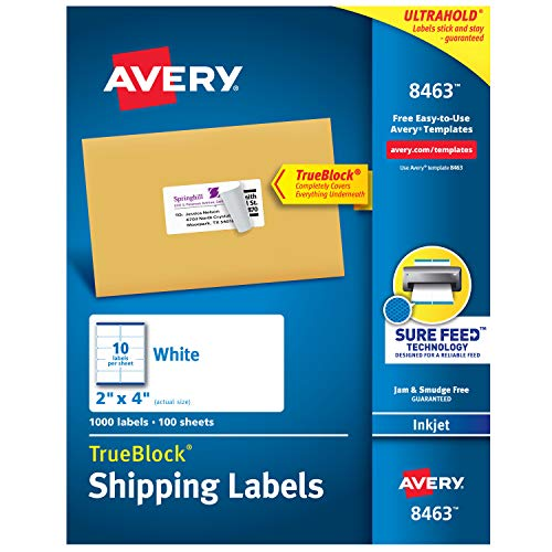 Avery Shipping Address Labels, Inkjet Printers, 1,000 Labels, 2x4 Labels, Permanent Adhesive, TrueBlock (8463), White