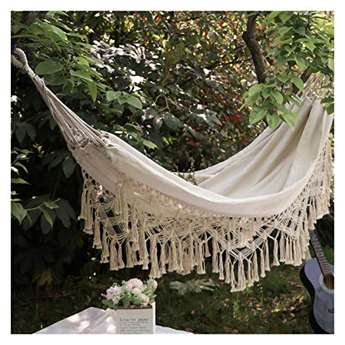 Earthily Hammock Hanging Chair, Foldable Hammock Large Macrame Fringe Double Deluxe Hammock Swing Net Chair Outdoor Indoor Hanging Deco (Color : B)