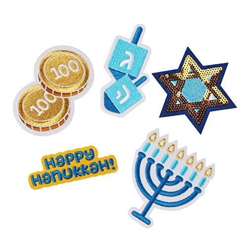 DCI Ugly Sweater Kit, Hanukkah Patches, Metal Pin Backs, Set of 5 Embroidered Patches, No Sewing Required
