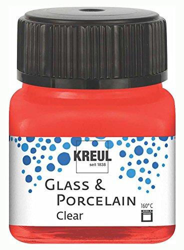 Kreul 16205 - Glass und Porcelain Clear, transparente Glas- und Porzellanmalfarbe auf Wasserbasis, schnelltrocknend, glasklar, 20 ml im Glas, kirschrot
