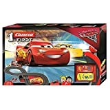 Carrera First Disney/Pixar Cars 3 - Slot Car Race Track - Includes 2 cars: Lightning McQueen and Dinoco Cruz -  Battery-Powered Beginner Racing Set for Kids Ages 3 Years and Up