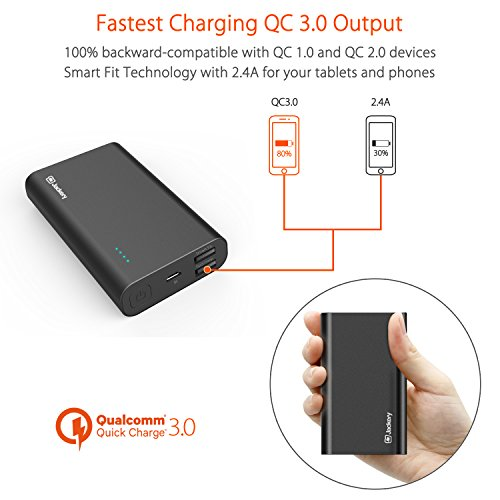 Jackery Thunder 10050 with Quick Charge 3.0, 10050mAh Power Pack Portable Charger with Qualcomm Quick Charge 3.0, Smart Fit 2.4A for iPhone, Samsung, iPad