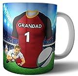 Taza de té y café, regalo de rugby para un abuelo, diseño de los reyes del sur