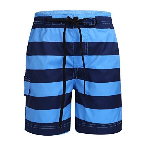 Freebily Kinder Jungen Bedehose Badeshorts Gestreifte Shorts Sommer Kurz Hose Wasser Sport Shorts Badebekleidung Swimwear Dukelblau&Himmelblau 98-104