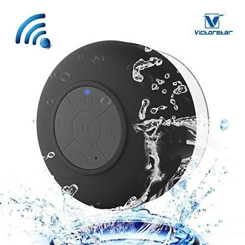Resistente al agua Bluetooth 3.0 Ducha Altavoz, Altavoz Portátil de Manos Libres con Mic Incorporado, 6h de Tiempo de Juego, Botones de Control y Ventosa Dedicado para Duchas,Cuarto de baño,Piscina,Barco,Coche, Playa,al aire libre Usar (Black)