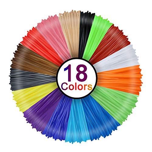 Mitening PLA Filament 1.75mm, 18 Farben Filament 1.75 PLA, 3D Drucker PLA Filament 3D Stift Filament Umweltfreundlich Kein Geruch Keine Blasen für 3D Stifte 3D Printer Printing Pen Zubehör