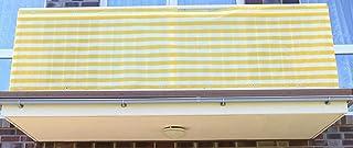 0,9 x 8 meter, Gelb&Weiß Streifen PE Balkonsichtschutz, Balkonverkleidung, Windschutz, Sichtschutz und UV-Schutz für Balkon, Gartenanlagen, Camping und Freizeit 0,9 x 8 meter, Gelb&Weiß Streifen