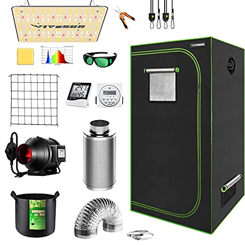 """VIVOSUN Grow Tent Complete Kit, 32""""x32""""x64"""" Growing Tent with VS1000 Led Grow Light 4 Inch 190CFM Inline Fan Carbon Filter and 8ft Ducting Combo"""