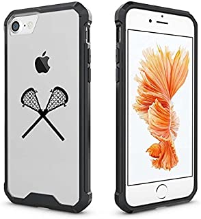 for Apple iPhone Clear Shockproof Bumper Case Hard Cover Lacrosse Sticks (Black for iPhone 8)