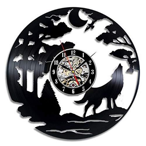 JXWH Orologio da Parete in Vinile retrò Orologio da Parete Design Moderno Adesivo Lupo Tema Orologio da Parete in Vinile Orologio da Parete Artista Decorazione per la casa
