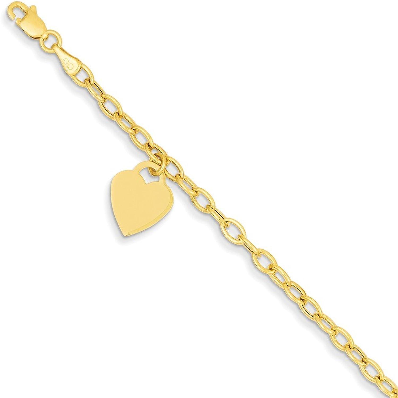 Beautiful Yellow gold 14K Yellowgold 14k Dangle Heart Bracelet