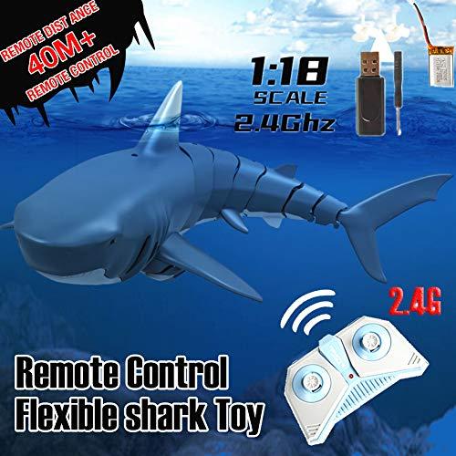 Yunhigh-uk 2.4G RC Boot Fernbedienung Hai Spielzeug Ferngesteuert Simulation für Wasserspielzeug Badewanne, Wassertank, Schwimmbad für Kinder Erwachsene