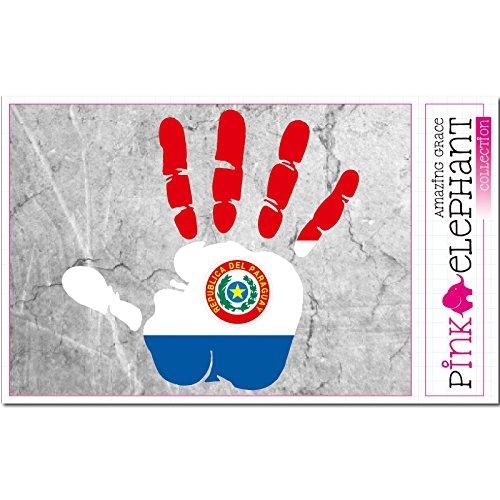 pinkelephant Aufkleber / Autoaufkleber - Paraguay - rechte Hand - Fahne - 10 cm x 9,5 cm - finger print palm slap handabdruck mano