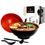 2 Ramen Bowl Sets. 8 pieces, Melamine Large Noodle Bowls Set By Vallenwood. Asian, Chinese, Japanese or Pho Soup 37oz. With Spoons, Chopsticks and Stands. Complete Dinnerware. Thai Miso Udon wonton.